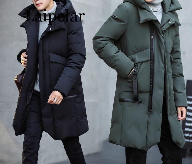 Laipelar nouveau hiver hommes à capuche veste longue veste manteau couleur unie Parkas coton-rembourré vêtements de jeunesse vêtements