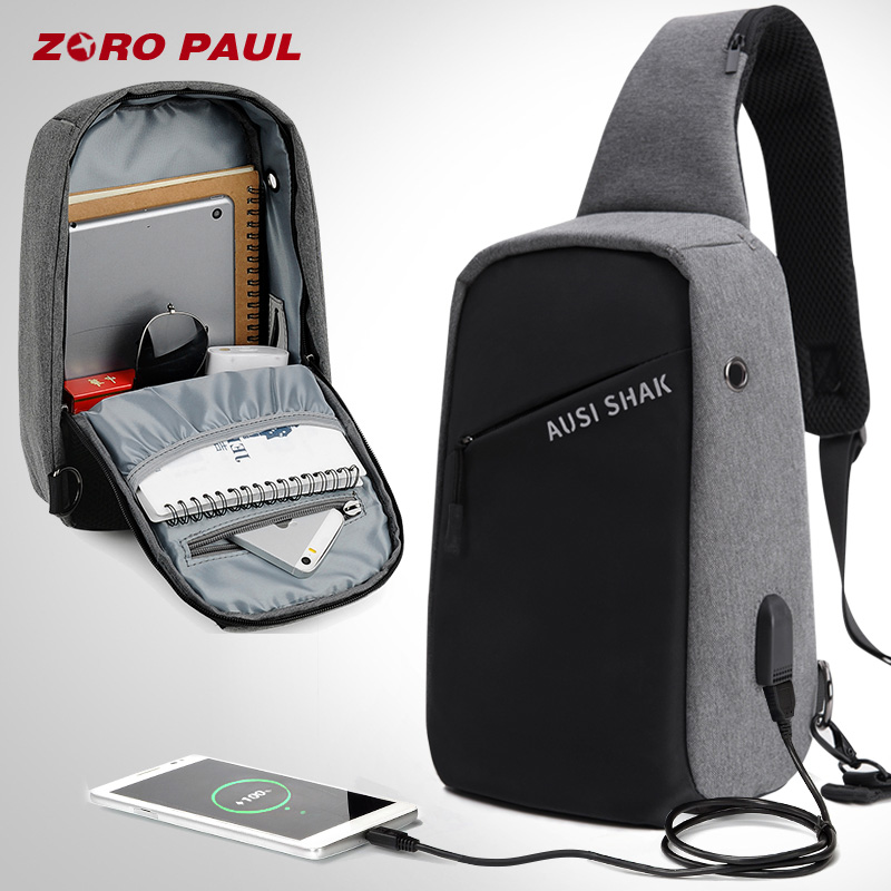 ZORO PAUL Casual Messenger Bag Men USB Charging Design Man Chest Bag Pack Anti Theft Shoulder Crossbody bags for Men Travel