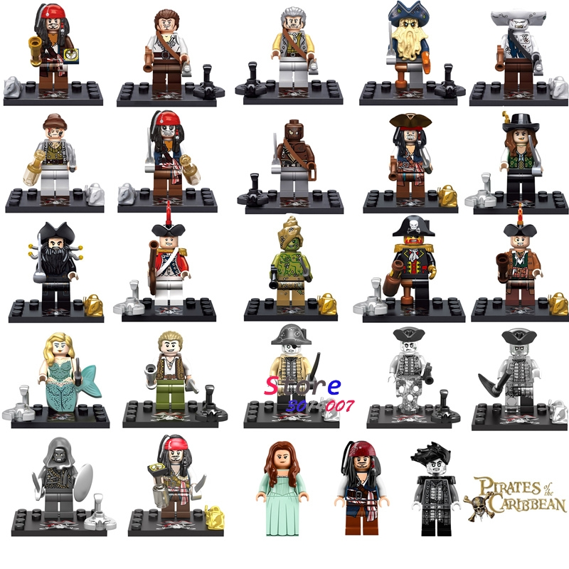 Single Captain Pirates of The Caribbean Jack Sparrow Elizabeth Mermaid David building blocks models bricks toys for children kit kazi 608pcs pirates armada flagship building blocks brinquedos caribbean warship sets the black pearl compatible with bricks