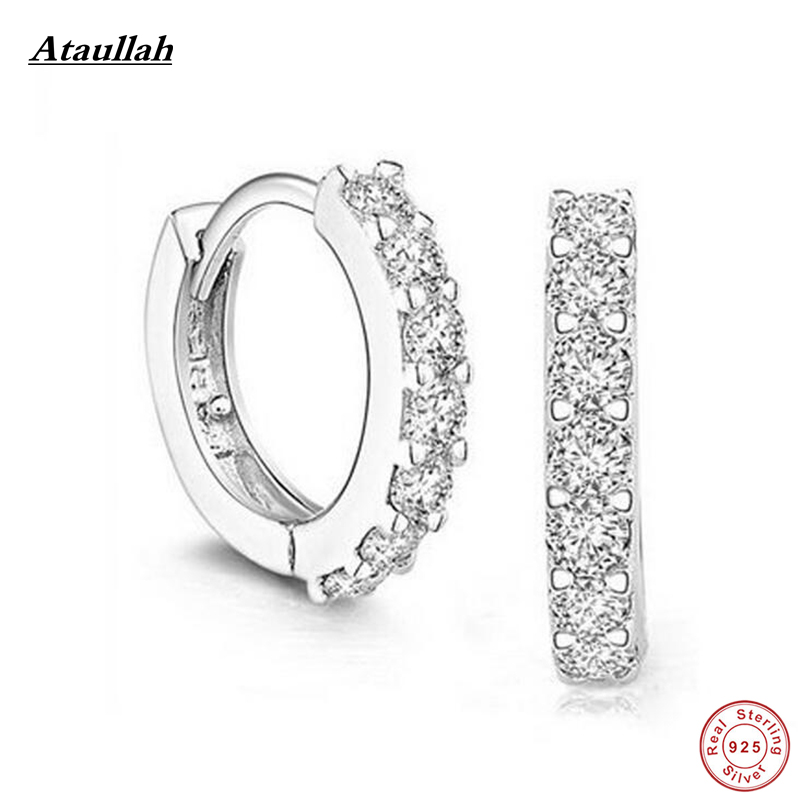 Ataullah 925 Sterling Silver Zircon Stone Hoop Earrings For Women Classic Earrings for Women Sterling Silver Jewelry EWH008