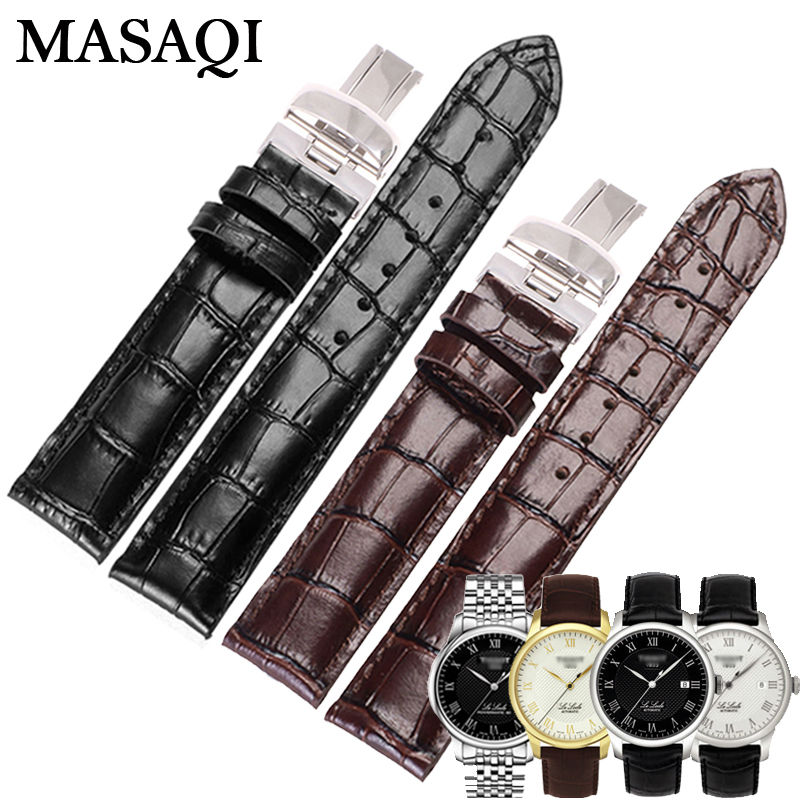 MASAQI Genuine Leather Watchband Black Brown Watch accessories For Tissot PRC200 1853 T41/T17/T461/T014 Strap 19/20mm