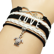 Infinity Love Letters white and pink braid PU Leather cute turtle pendant charms bangle wrist wrap Bracelet drop Shipping custom