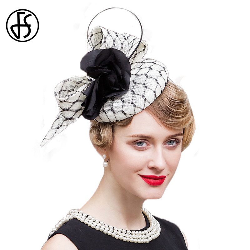 1f0af29bc79 FS Fascinator Black and White Hat Wedding Flower Pillbox Sinamay Cocktail Hats  Linen Derby Vintage Ladies Church Dress Fedora