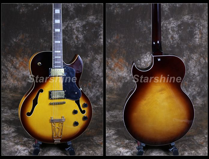 Starshine Corps Creux Électrique Guitare JS-BY201 Byrd-landStyle Or Harware Vos Couleur Grover Tuner