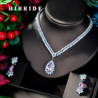 HIBRIDE Shiny Pink Color Water Drop AAA Cubic Zircon Necklace Dubai Dress Jewelry Set White Gold Color Necklace Sets N 816