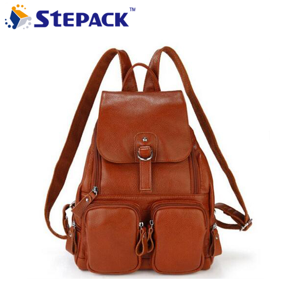 Best Selling Genuine Leather Women Backpacks Brand Vintage School Bag Lady Girl's Casual Shoulder Bags Free Shipping WBG1052 faux leather fashion women backpacks vintage casual daypacks shoulder bags travel bag free shipping