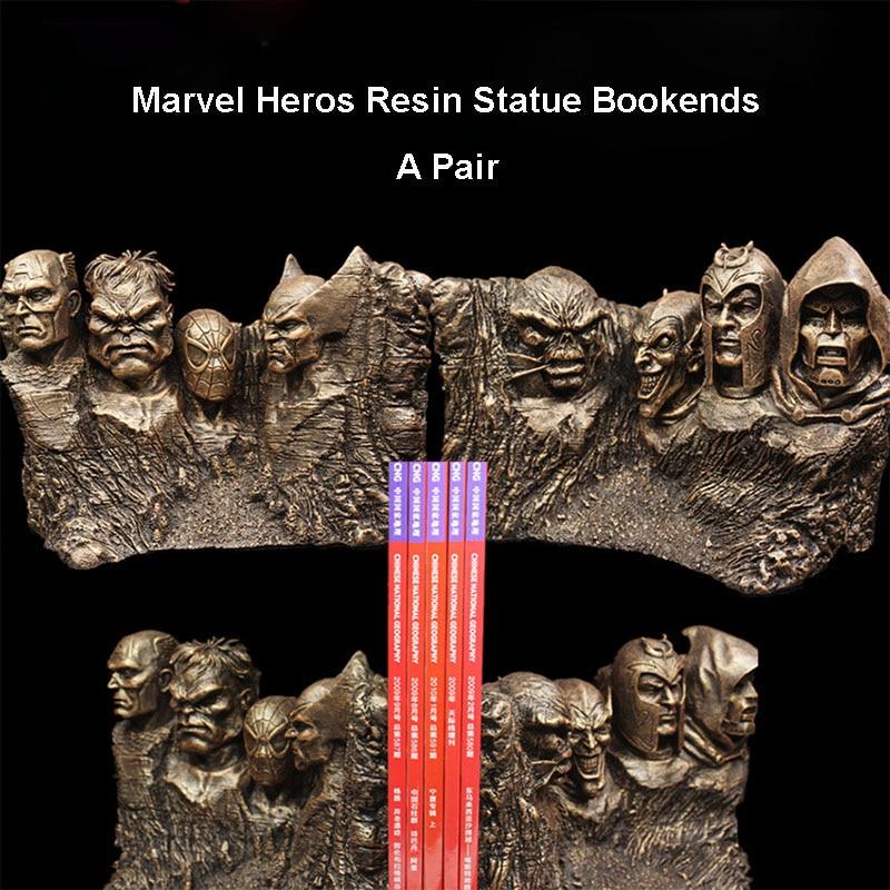 17 CM une paire Marvel Heros Captain America Spiderman docteur Doom Hulk mont Rushmore résine Statue serre-livres support cadeaux