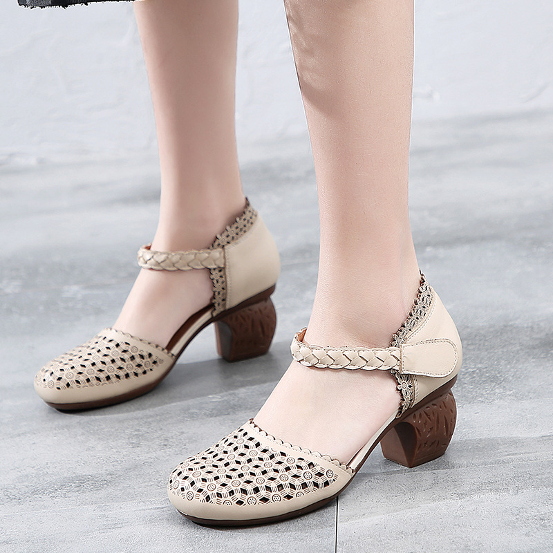 Women Leather Sandals Embroidery 6 Cm High Heels Chunky Shoes Beige Ladies Elegant Sandals Handmade Genuine Leather Women ShoesWomen Leather Sandals Embroidery 6 Cm High Heels Chunky Shoes Beige Ladies Elegant Sandals Handmade Genuine Leather Women Shoes
