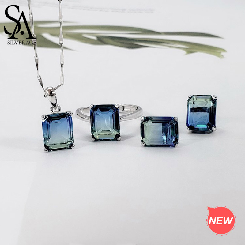 SA SILVERAGE 925 Sterling Silver Rectangle Gradient Stud Earrings Necklaces Rings Jewelry for Woman Colorful Silver Jewelry Sets