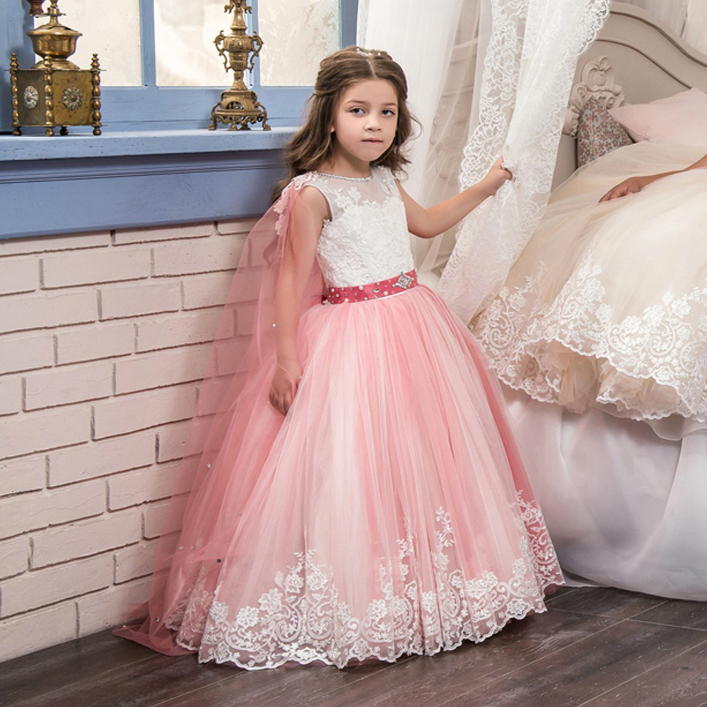 Fancy flower girl dresses lace appliques ruffles beading lace up fancy flower girl dresses lace appliques ruffles beading lace up little girl bridesmaid wedding dresses trailer tulle ball gowns in dresses from mother ombrellifo Images