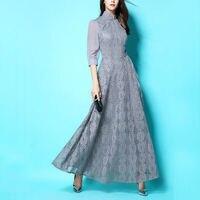 Limited Snow Ladies Grey Lace Chiffon Stand Collar Cheongsam Long Dress Chinese Style Half Sleeve