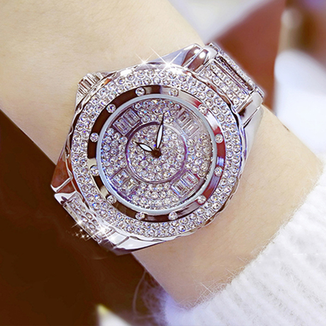 Women Watches Fashion Casual Luxury Rhinestone Quarts Gold Silver