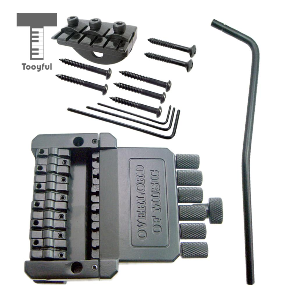 Tooyful 1 Set 6 String Saddle Headless Bridge Tailpiece with Screws for Electric Guitar Parts Replacement