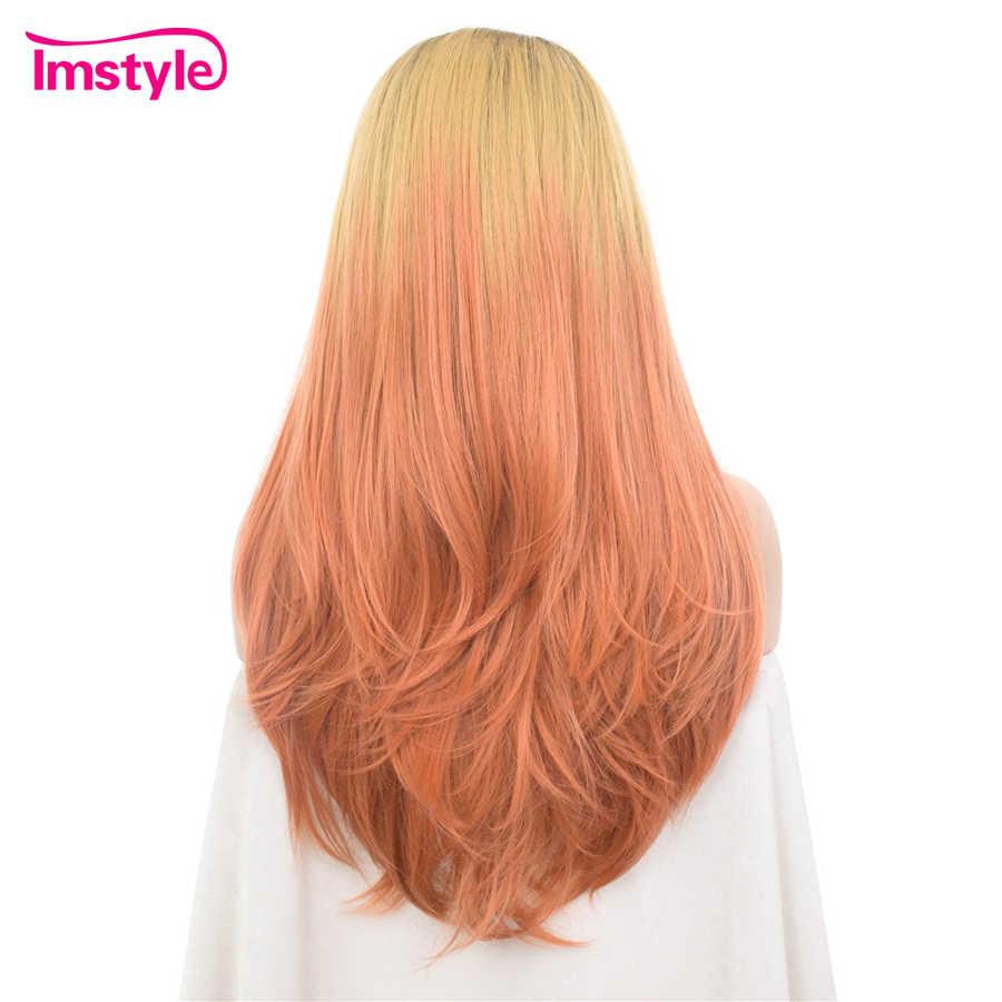 Imstyle Ombre розовый блондин синтетический парик с кружевом спереди прямые волосы парик высокотемпературное волокно три тона темный корень Косплей