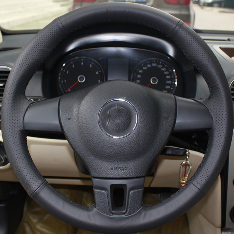 High Quality cowhide Top Layer Leather handmade Sewing Steering wheel covers protect For Volkswagen VW Tiguan Passat B7 Touran in Steering Covers from Automobiles Motorcycles