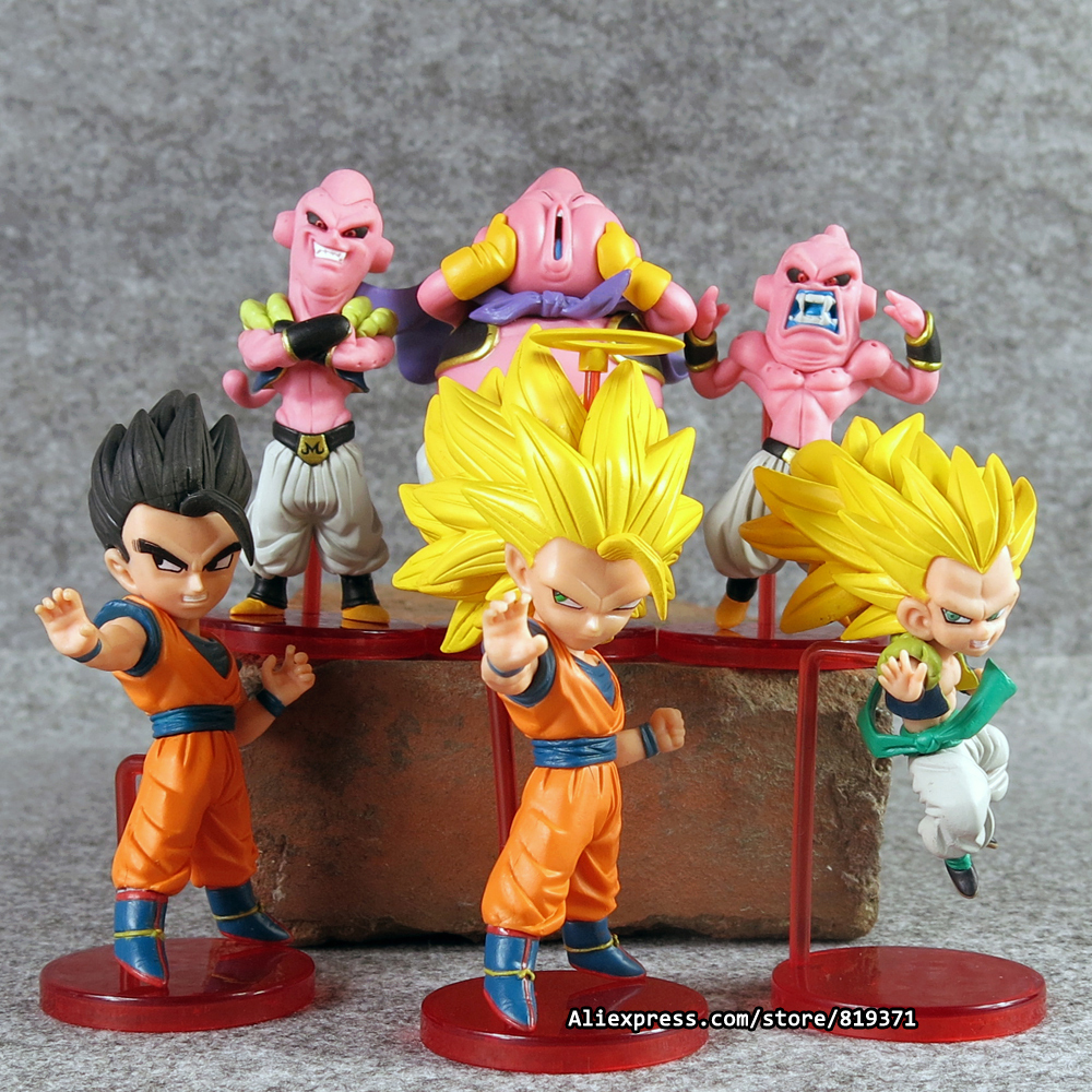 6pcs/1sets 12cm Dragon Ball Z Figurines Anime Cartoon Majin Buu Gotenks Saiyan Son Goku PVC Action Figures Collectible Toys