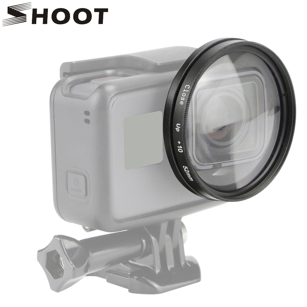 SHOOT 52mm Magnifier Macro Close Up Lens for GoPro Hero 6 5 7 Black Action Camera Mount for Go Pro Hero 6 5 7 Accessories shoot cnc aluminum alloy protective case for gopro hero 5 black camera with 52mm uv lens mount for go pro hero 5 accessories