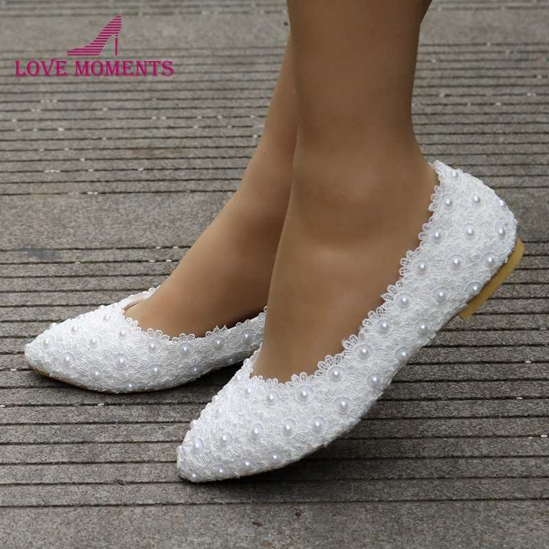Free Shipping Best Price White Lace Flats Wedding Bridal Shoes