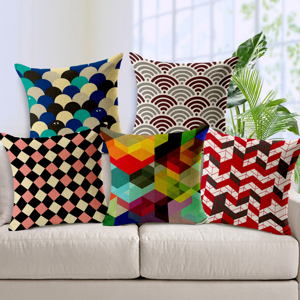 Maiyubo Nordic Vintage Geometric Cushion Cover Abstract Plaid Cushion Pillow Linen Cotton Throw Pillowcase Car Home Decor PC421