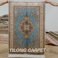 Yilong 2.7'x4' Hereke silk carpet blue vantage exquisite Turkish handmade silk rugs (0496)