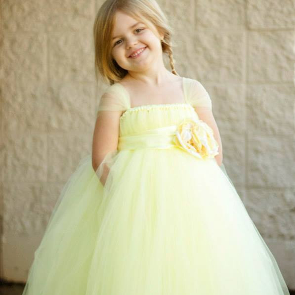 Gorgeous little girls party dress tulle cap sleeves light yellow gorgeous little girls party dress tulle cap sleeves light yellow flower girls tutu dresses flower band dresses for party pt22 in dresses from mother kids mightylinksfo