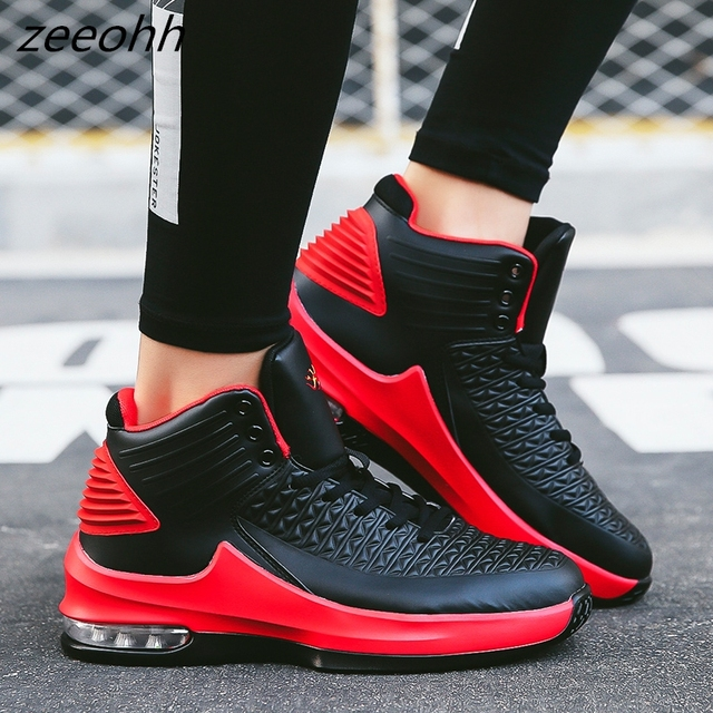 Men Zeeohh High Top Cushioning Shockproof Basketball Lace Up Shoes/Sneakers
