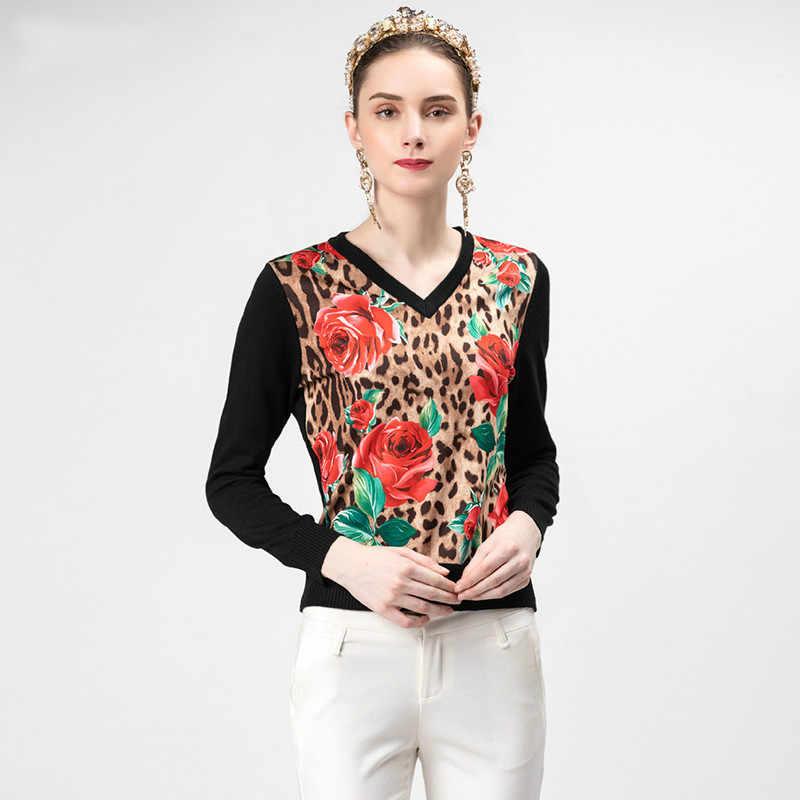 Красный RoosaRosee 2019 взлетно-посадочной полосы дизайнерские Для женщин вязаные пуловеры с длинными рукавами и цветочным принтом и пикантным леопардовым узором; топы Винтаж цвета: черный, зеленый, свитер