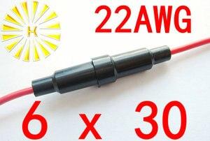 #22 провод 6*30 мм черный Пластик держатель предохранителя с 22AWG красный кабель x 200 шт.