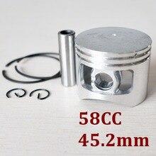 Поршень цепной пилы комплект 45,2 мм для китайских 5800 58cc G5800 двигатель газового цилиндра w/Pin Кольца стопорные запчасти
