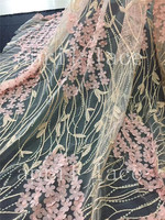 5yards /lot st004# 3d flower stone embroidery best quality tulle mesh lace fabric for sawing bridal wedding/ evening dress