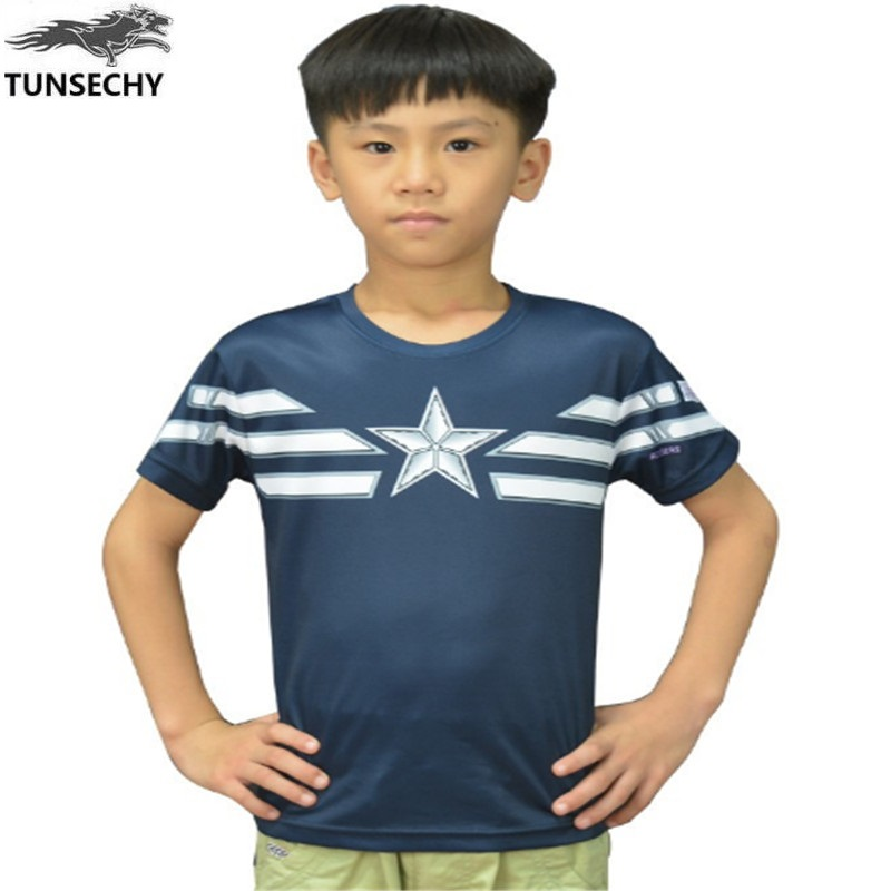 d8ce3d347bc TUNSECHY Children Unique Marvel Captain America T Shirts Super Hero Design Kids  short sleeves Captain America Boys T-shirts – A to Z Hero Store
