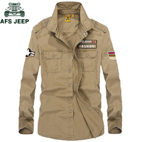 AFS JEEP Brand Military Shirt Men 100 Cotton Spring Autumn Mens Shirts Casual Slim Fit Long