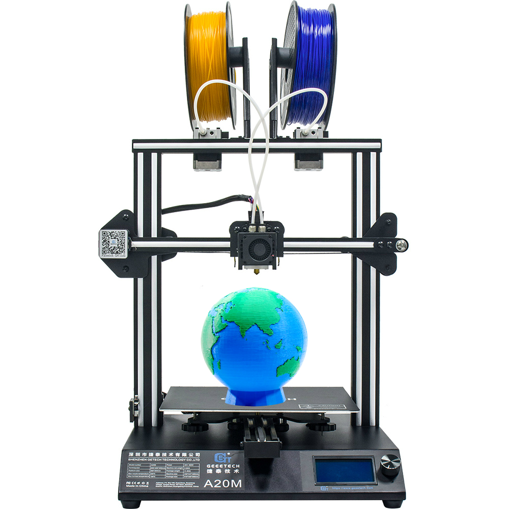 Imprimante 3D GEEETECH A20M avec impression couleur mélangée, Base de bâtiment intégrée et double extrudeuse et détecteur de Filament