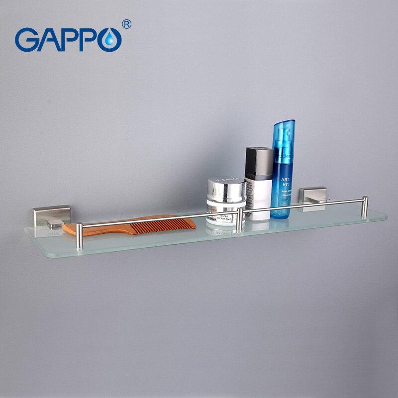 US $24.75 53% OFF|GAPPO Top Qualität Wand Montiert Badezimmer Regale  Badezimmer Glas regal toilette regal Hardware Zubehör in zwei haken  G1707-in ...