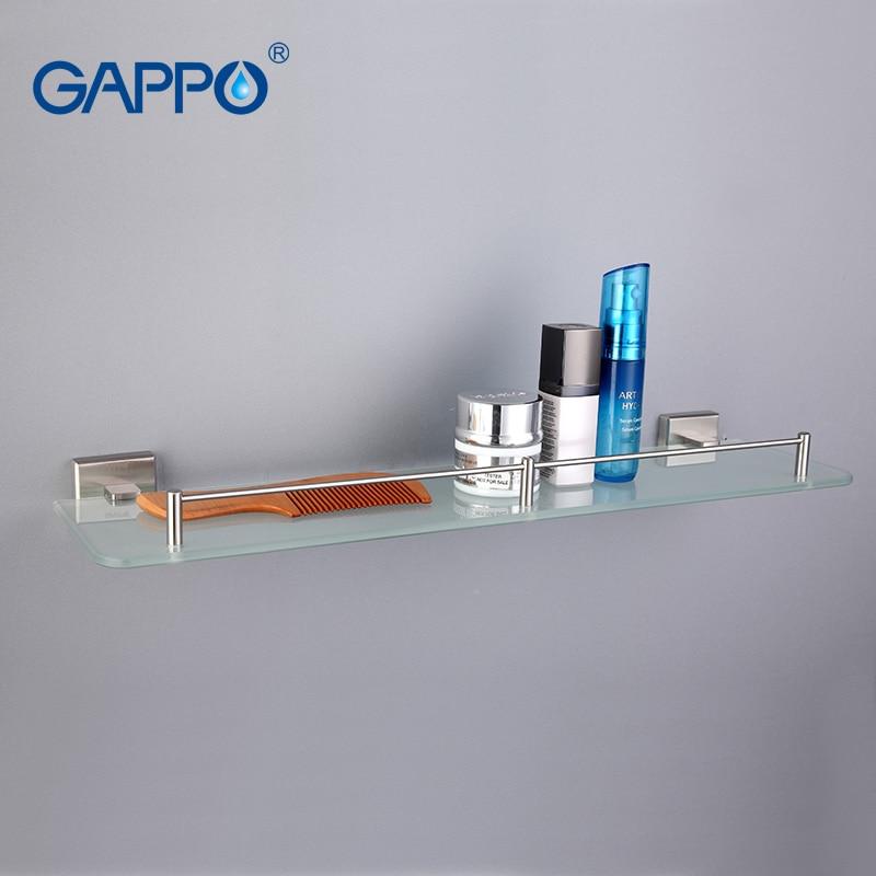 GAPPO Top Quality Wall Mounted Bathroom Shelves Bathroom Glass Shelf Restroom Shelf Hardware Accessories In Two Hooks G1707