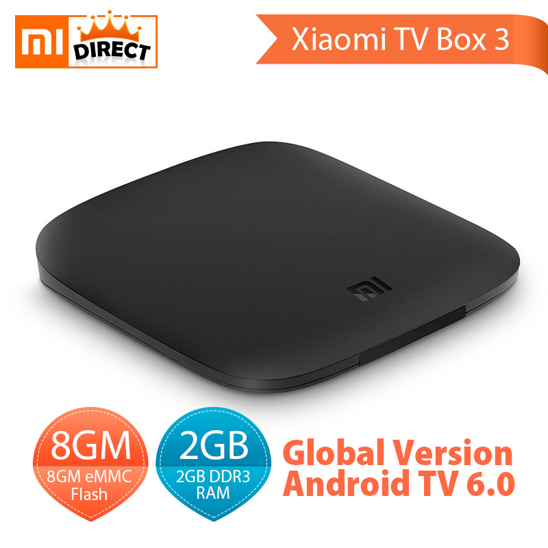 Original Xiaomi tv box 3 Android 6.0 global version xiaomi mi box 3 4K Ultra HD 2G 8G Google Cast Netflix WIFI Media Player