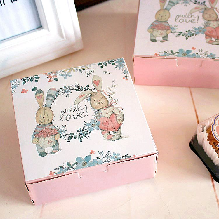 15PCS Cute Rabbit With Love Wedding Gift Box For Guest Food Carton Paper Boxes Mooncake Box Cookie Chocolate Cake Packaging Box