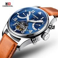 Sapphire Swiss Carnival Automatic Watches Men Tourbillon Mechanical waterproof Clock Fashion Leather Luxury relogio masculino