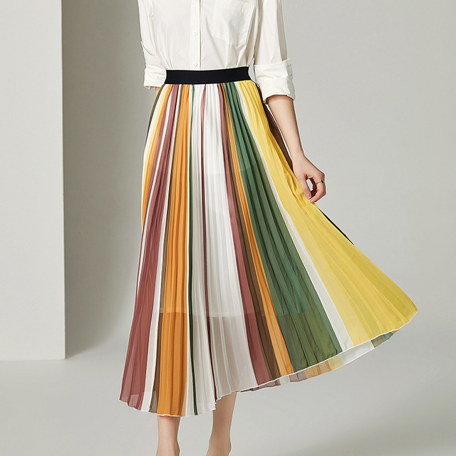 Stretched striped patchwork skirt women A line skirt midi woman skirt 2019 spring summer New arrival
