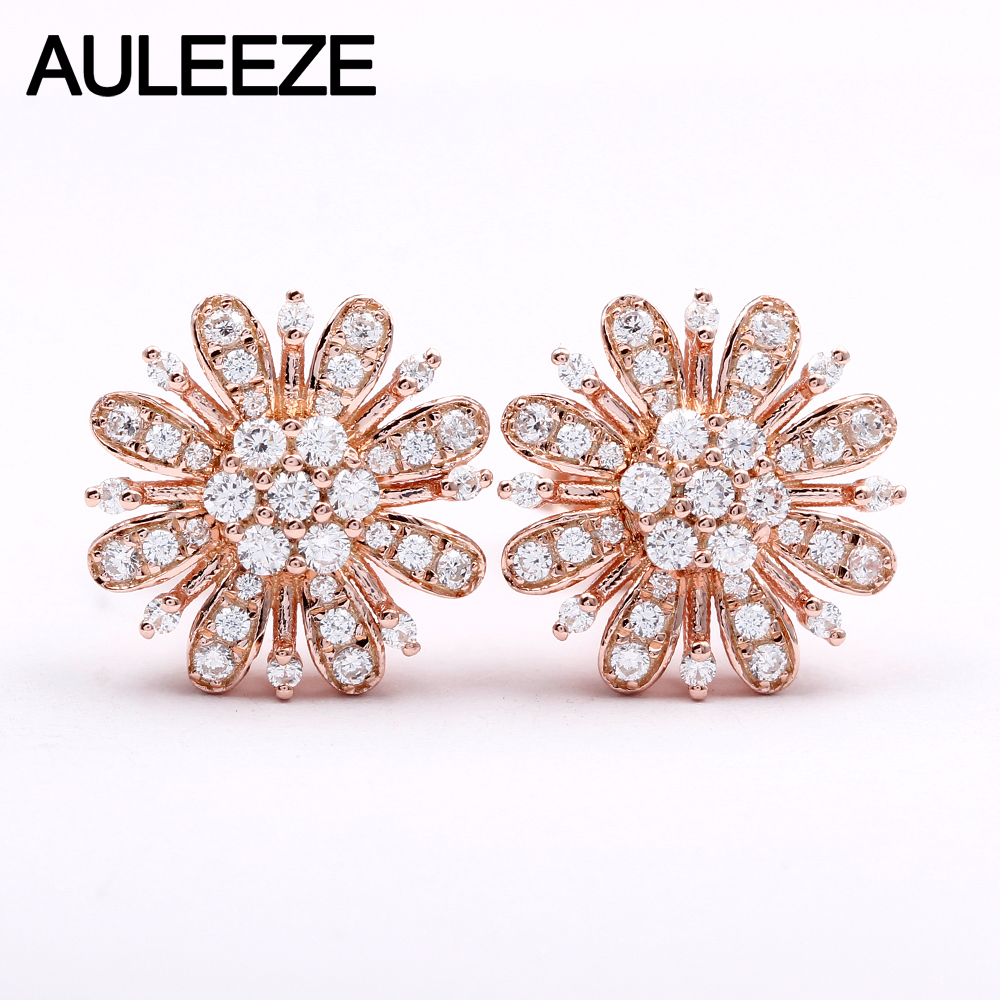 AULEEZE Natural 0.46cttw Diamond Flower Earrings Real 18k Rose Gold Stud Earrings for Women Wedding Fine Jewelry Gifts 18k rose gold women stud earrings double balls fine engaged wedding jewelry fashion female delicate gift hot sale trendy party