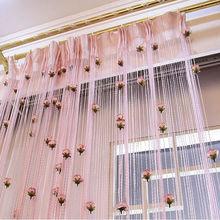 100cm*200cm DIY Rose Curtain Romantic Floral String Flower Design Tassel Decor Door Window Room Divider 8 Colors
