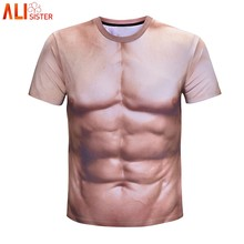 417f3dc2 Alisister Funny 3D Muscle Print T Shirt Men Women Crossfit Male Casual Tee  Shirts Summer Short Sleeve Top Tee Homme De Marque