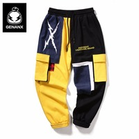 Genanx Brand Streetwear Panelled Patchwork Print Ankle Length Pants Casual Packet Decoration Loose Hip Hop Cargo Pants Men