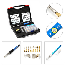 Thermoregulator Soldering Iron Wood Carving Embossing Burning Pyrography Pen Tool and Soldering Tips Blade Stand Kit