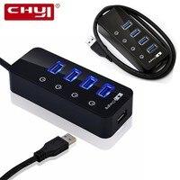 CHYI 5-en-1 Haute Vitesse 4 Port USB 3.0 Hub 1 Rapide Port de charge avec On/Off Commutateur USB3.0 Splitter Adaptateur Supplémentaire DC Puissance fournir