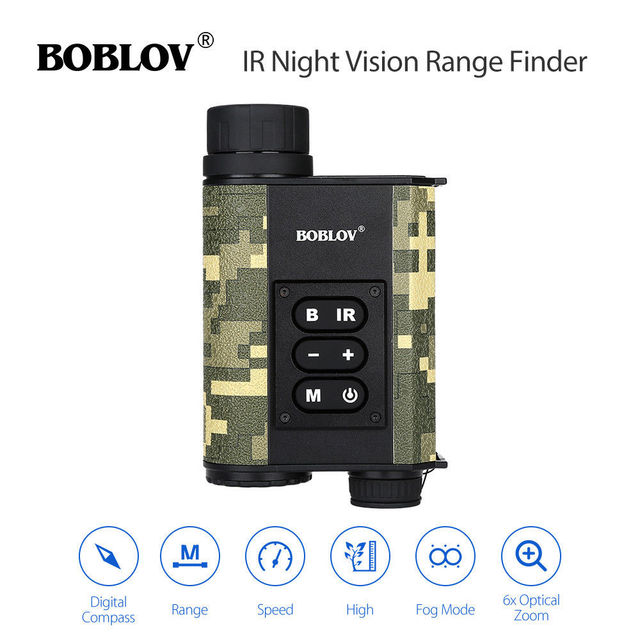 BOBLOV LRNV009 6X32 500M Ranging Finder Infrared IR Night Vision Multifuctional Monocular Telescope Camouflage Hunting Outdoor