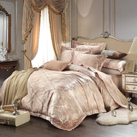 New European Satin Jacquard Bedding Sets Soft Slippery Bamboo Fiber Linens Queen King Set Duvet Cover