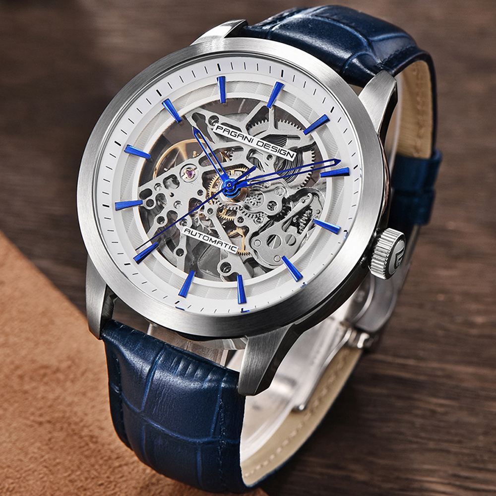 PAGANI DESIGN Business Man Watch Luxury Skeleton Hollow Leather Men's Wristwatch New Mechanical Male Clock Relogio Masculino