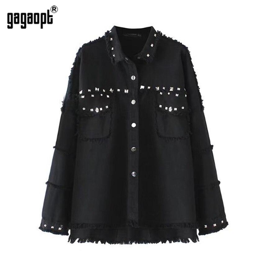 Gagaopt 2018 Fashion Solid Color Rivet Long Sleeve Denim Jacket