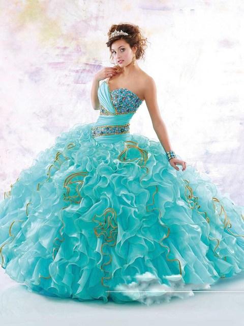 2017 Azul Vestido De Baile Quinceanera Dresses New Espumante Contas de Cristal Organza Vestidos De Baile 15 Anos Vestidos de Festa Tamanho Personalizado